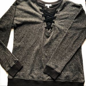 Maurice's Black Sweatshirt XL Criss Cross Front